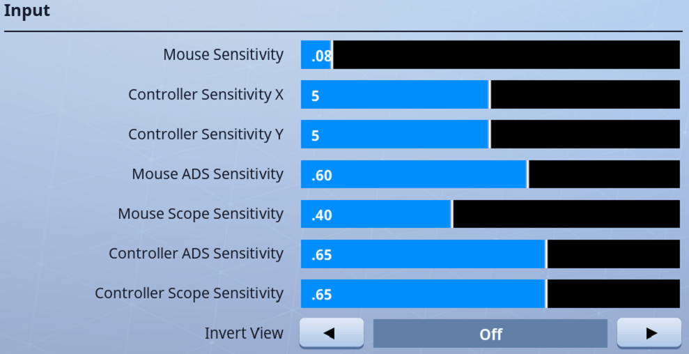 Ninja Sensitivity Settings in Fortnite